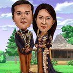 Hadiah Karikatur Pernikahan Jawa Untuk Sahabat Dekat