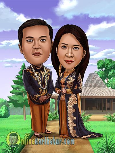 Hadiah Karikatur Pernikahan Jawa Untuk Sahabat Dekat Jasa